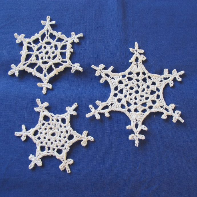 Three Different Crochet Snowflakes