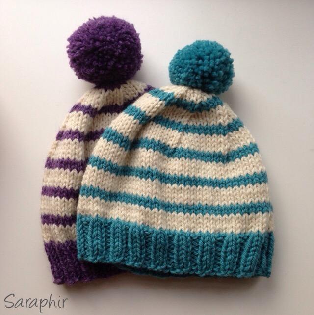 knitted child bentie pompom beanie