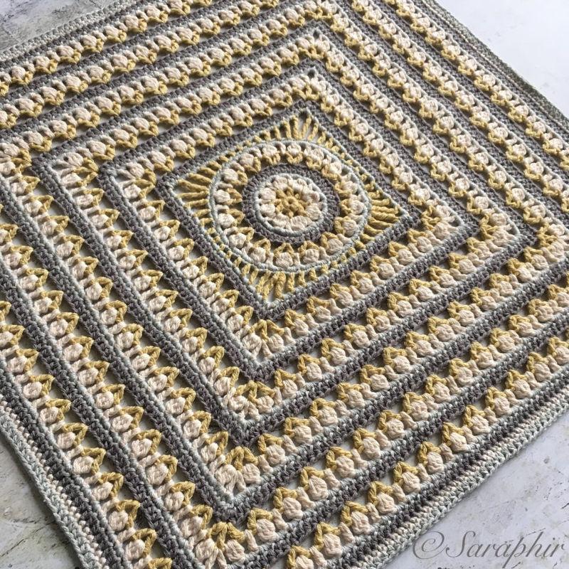 Large Flower Wheel Coaster Square A Free Crochet Pattern